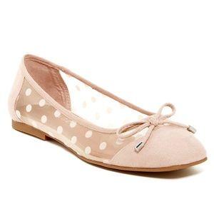 Peach Suede Polkadot Ballerina Flats